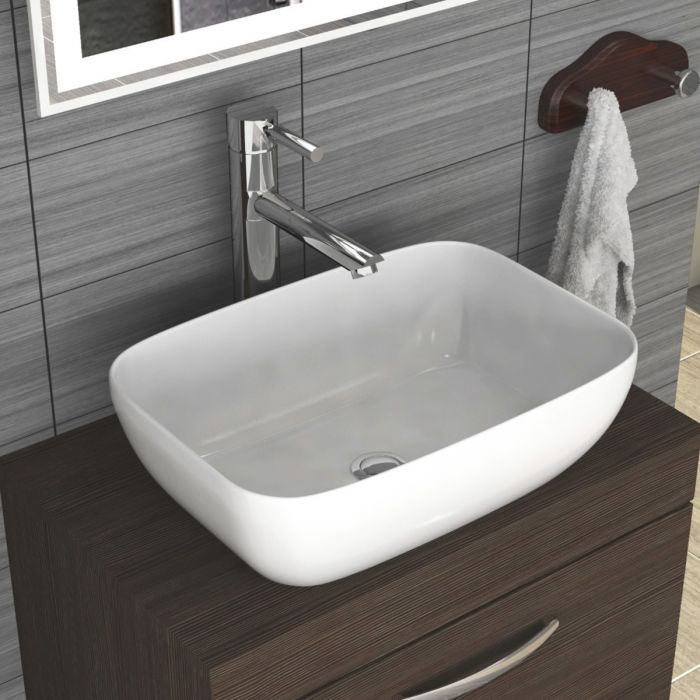 Can a countertop basin be a glass basin in a cloakroom?